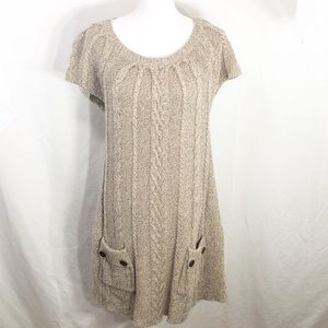 Style & Co Brown Cable Knit Sweater Dress     A234